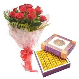 24 Hrs Online 1 Kg Kesaria Peda N Roses Combo Kanpur