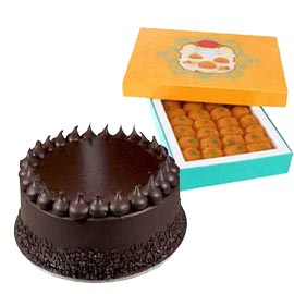 Send online moti choor laddu n chocolate truffle cake in kanpur