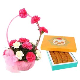 24 hrs online moti choor laddu n mix carnations basket in kanpur