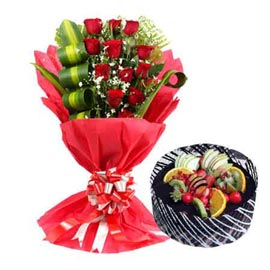 Gift online 1 kg chocolate cake n 12 red roses designer bunch in kanpur