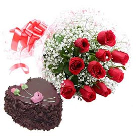 Buy online 1 kg chocolate truffle heart cake n 10 red roses combo in kanpur