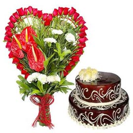 Buy online 2.5 kg chocolate cake n mix flowers bunch in kanpur
