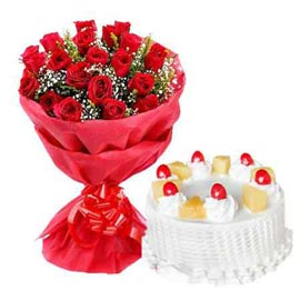 Buy online pineapple cake n 20 red roses double paper bunch in kanpur
