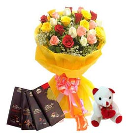 Midnight online mix roses bunch, cute teddy n bournville chocolates kanpur