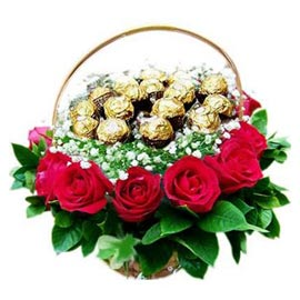 Send online red roses & 16 pcs ferrero rocher round shape in kanpur