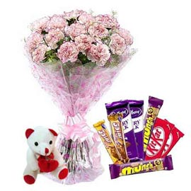 Send online assorted chocolates, cute teddy n carnations bunch in kanpur