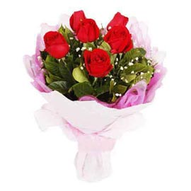 send 10 red roses white paper bunch midnight delivery in kanpur