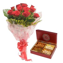 order fast online Mix dry fruit box n red roses delivery in kanpur