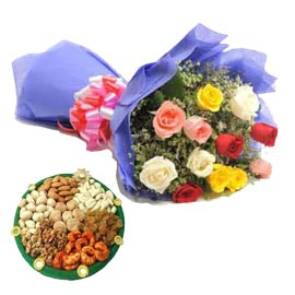 Buy online Mix roses n dry fruits thali in kanpur