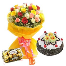 Buy online Mix roses, black forest cake n rocher chocolates in kanpur