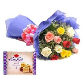 Send online mix roses bunch n soan papdi pack delivery in kanpur