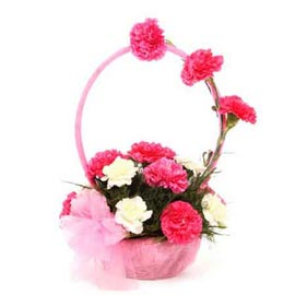 buy pink n white carnations round handle basket fast delivery in kanpur