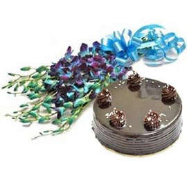 Send online half kg chocolate cake n orchids bunch in kanpur