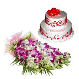 24 Hrs online vanilla party cake n orchids bunch in kanpur
