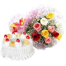 Buy online pineapple cake n mix roses bunch in kanpur