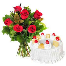 24 Hrs online half kg pineapple cake n 6 red roses in kanpur