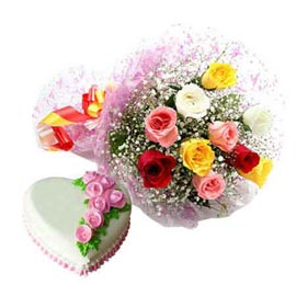 24 Hrs online vanilla cake n mix roses bunch in kanpur