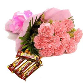 Send online Pink carnations n five star chocolates in kanpur