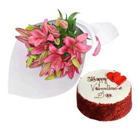 Send online red velvet cake n pink lilies bunch in kanpur