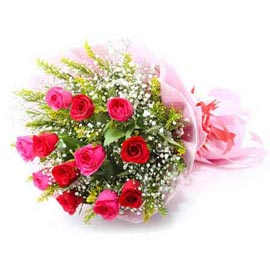 send 10 red & pink roses bunch same day delivery in Kanpur