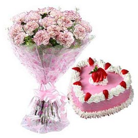 24 hrs online strawberry cake n white carnations bunch in kanpur