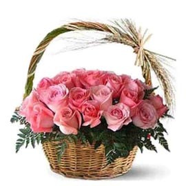 buy 25 pink roses cane basket same day delivery in kanpur