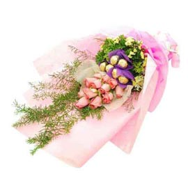 24 hrs online pink roses bunch n 5 pcs ferrero rochers pack in kanpur