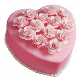 Send 1 kg pink vanilla heart cake online free home delivery in kanpur