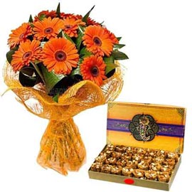 Urgent online pinni n orange gerberas bunch in kanpur