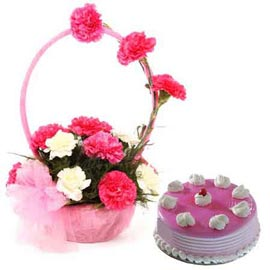 Gift online strawberry cake n mix carnations basket in kanpur