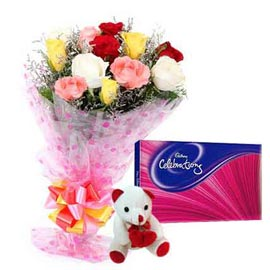 Midnight online mix roses, cute teddy n cadbury celebration pack in kanpur