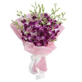 buy 10 purple orchids designer bunch midnight delivery in kanpur