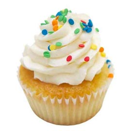 Same day online rainbow vanilla cup cake delivery in kanpur