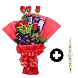 flower n chocolate bouquet delivery with rakhi