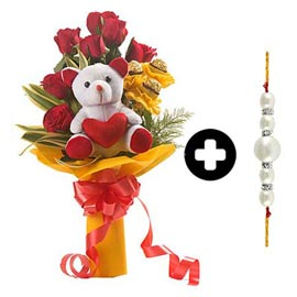 Rakhi-n-Bouquet-of-roses-rochers-n-teddy