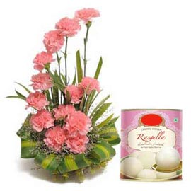 same day online rasgulla pack n pink carnations basket in kanpur
