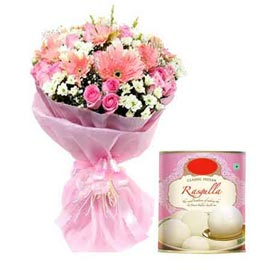 Buy online rasgulla pack n pink mix flowers bunch in kanpur