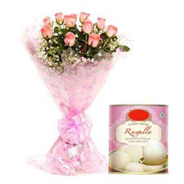24 Hrs online Rasgulla pack n pink roses bunch in kanpur