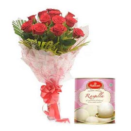 Same day online rasgulla pack n ewd roses bunch in kanpur