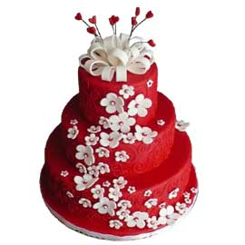 Order online Red floral cake delivery in kanpur | kanpurgifts.com