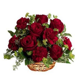 send red roses n carnations basket 24 hrs delivery in kanpur
