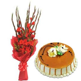 Send online butter scotch cake n red glads bunch in kanpur