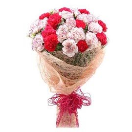 send 10 red n white carnations bunch midnight delivery in kanpur