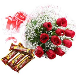 24 Hrs online red roses bunch n five star chocolate in kanpur