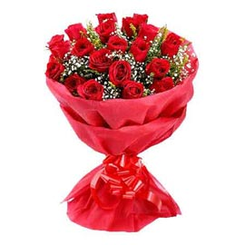 buy 20 red roses red paper bunch midnight delivery in kanpur