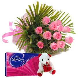 Same day online pink roses, cute teddy n celebration pack in  kanpur