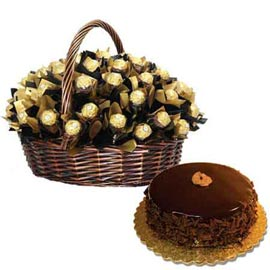 Urgent online Rocher chocolates big basket n chocolate cake in kanpur