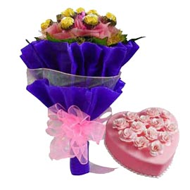 Buy online Rocher chocolates bouquet n pineapple cake in kanpur