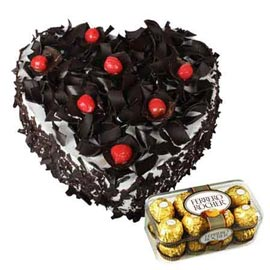 Send online ferrero Rocherchocolates n 1 kg black forest heart cake in kanpur