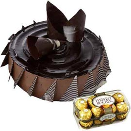 Midnight online ferrero Rocher chocolates n choco cheese cake in kanpur